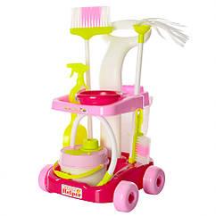 Дитячий ігровий набір для прибирання 667-34-36 візок з аксесуарами (Рожевий)