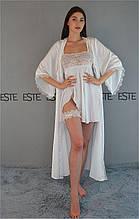 Красивый комплект на утро невесты Este Длинный шелковый халат и пеньюар 809-207 белый.