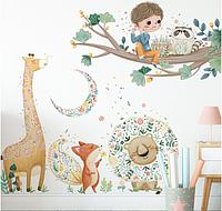 """Наклейка на стену, в детский сад, на витрину """"Мальчик играет для зверей в лесу"""" 88см*77см (лист 60*90см)"""