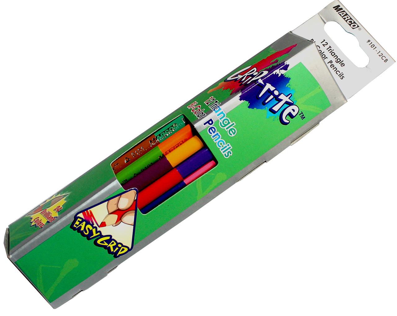 Карандаши цветные 2-х-цветные Marco Grip-rite 24 цвета