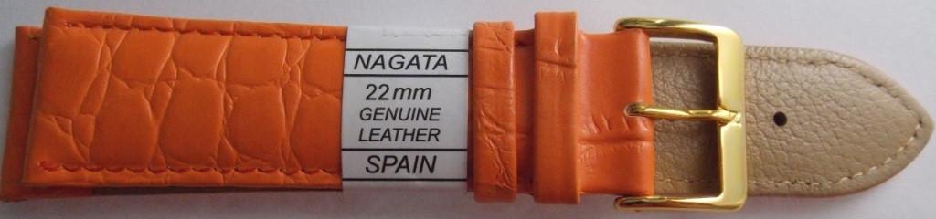 Ремешок кожаный NAGATA (ИСПАНИЯ) 22 мм, оранжевый