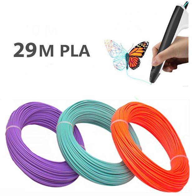 Набор пластика для 3D-ручки  из 3 цветов PLA 29 метров экологически чистый