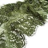 Ажурное французское кружево шантильи (с ресничками) оливкового цвета шириной 23 см, длина купона 1.50 м., фото 3
