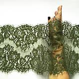 Ажурное французское кружево шантильи (с ресничками) оливкового цвета шириной 23 см, длина купона 1.50 м., фото 2