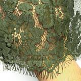 Ажурное французское кружево шантильи (с ресничками) оливкового цвета шириной 23 см, длина купона 1.50 м., фото 5