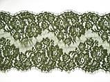 Ажурное французское кружево шантильи (с ресничками) оливкового цвета шириной 23 см, длина купона 1.50 м., фото 6
