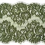 Ажурное французское кружево шантильи (с ресничками) оливкового цвета шириной 23 см, длина купона 1.50 м., фото 4