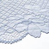 Стрейчевое (еластичне) мереживо блідо-блакитного кольору шириною 20 див, фото 5