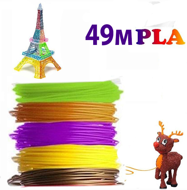 Набір різнокольорового пластику для 3D-ручки з 5 кольорів PLA 49 метрів без запаху