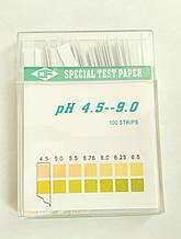 Медичний лакмус (рН - тест) 4.5-9.0 рН (слина, сеча, секрети) 100 смужок