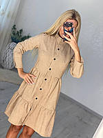 Женское вельветовое платье на кнопках с длинным рукавом 42, 44, 46, 48 в ассортименте