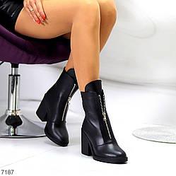 Высокие кожаные черные женские ботинки натуральная кожа на флисе удобный каблук