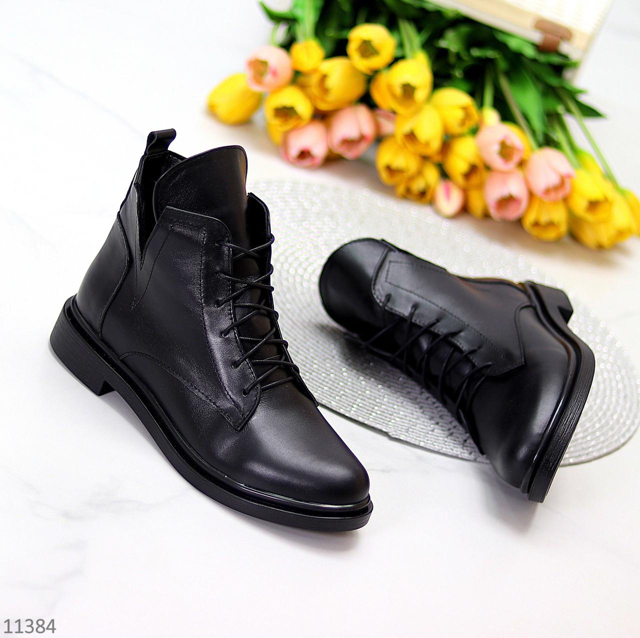 Модельные кожаные черные женские ботинки натуральная кожа на флисе шнуровка