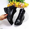 Модельные кожаные черные женские ботинки натуральная кожа на флисе шнуровка, фото 9