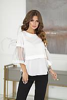 Жіноча біла красива нарядна блузка літня з коротким рукавом 3/4 (р. 42-46) . Арт-1709/19, фото 1