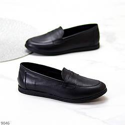 Повседневные удобные черные кожаные женские мокасины натуральная кожа