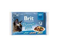 Влажный корм Brit Premium Cat для кошек обеденная тарелка в соусе  4шт х 85г ассорти