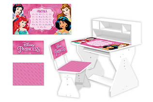 Парта розовая для девочки Принцессы с азбукой PL-2021-03