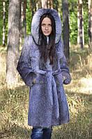 Шуба из стриженой нутрии (опушка и из чернобурки, голубой окрас)