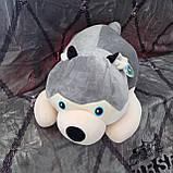 Плед іграшка подушка 3 в1 Хаскі | Іграшка дитячий плед | Іграшки-Подушки | М'яка іграшка Синього кольору, фото 2