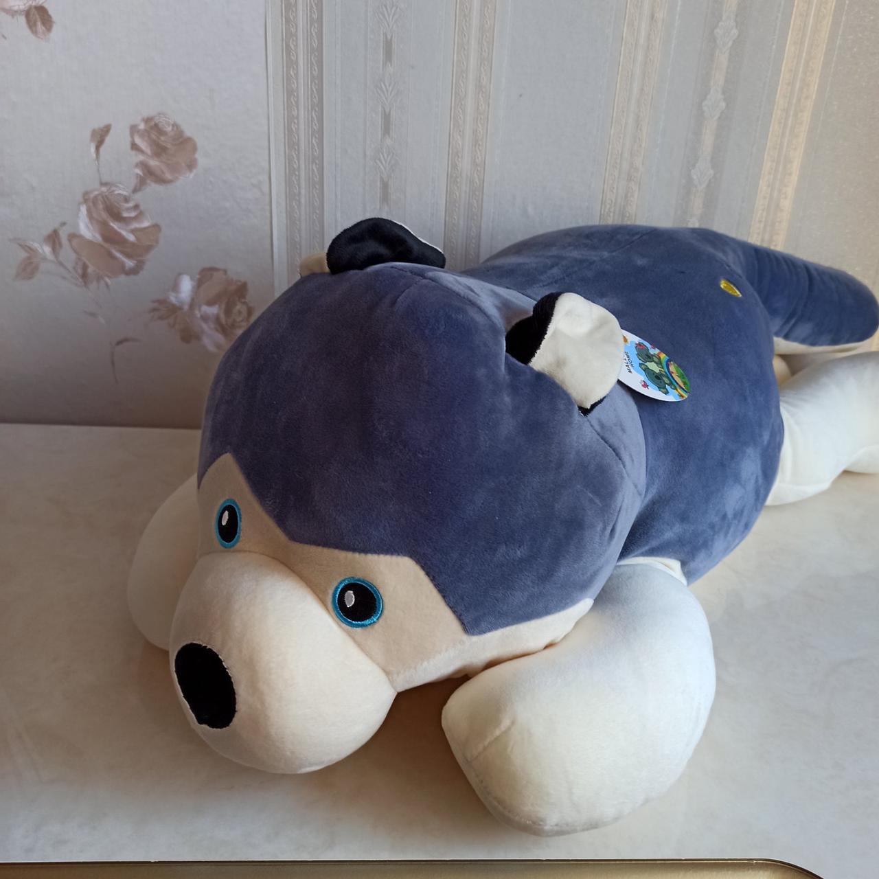 Плед іграшка подушка 3 в1 Хаскі | Іграшка дитячий плед | Іграшки-Подушки | М'яка іграшка Синього кольору