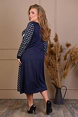 Модное синее платье в горох большого размера, фото 3
