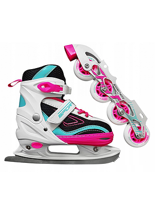 Роликові ковзани SportVida 4 в 1 SV-LG0031 Size 31-34 Pink/Blue, фото 2