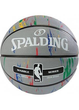 М'яч баскетбольний Spalding NBA Marble Outdoor Grey/Multi-Color Size 7, фото 2