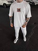 Комплект чоловічий штани+ футболка білого кольору з яскравим принтом. Чоловічий комплект білий., фото 1