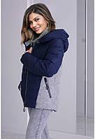 Модная женская куртка на тинсулейте темно-синего цвета