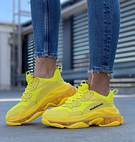 Кроссовки женские Balenciaga Triple S Clear Sole Yellow / Баленсиага Трипл С жёлтые яркие стильные молодежные