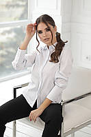 Женская белая офисная рубашка с длинным рукавом (р.42-52) . Арт-1712/19, фото 1