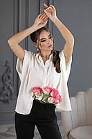Жіноча повсякденна сорочка оверсайз з коротким рукавом летюча миша (р. 42-58) . Арт-1713/19, фото 1