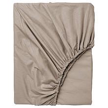 Простынь на резинке Bella Villa сатин 200х200+25 см бежевая
