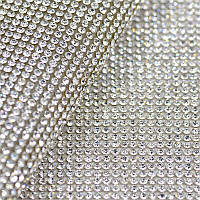 Стразовое термополотно.Цвет страз Crystal ss10(3мм), 1 отрезок 1*24см, фото 1
