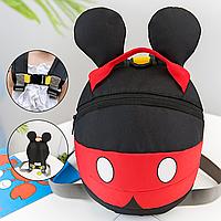 Стильный Детский мини рюкзак Микки маус с ушками поводком рюкзак в садик дошкольный Черно-красный ТОП