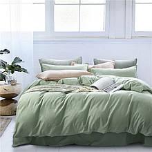 Постільна білизна Bella Villa з вареного бавовни оливковий
