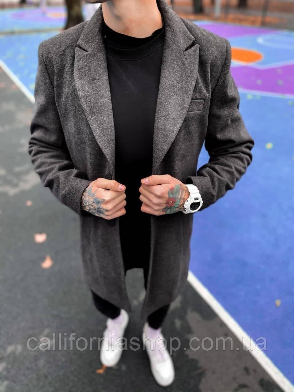 Мужское пальто темно - серое двубортное классическое длинное демисезонное