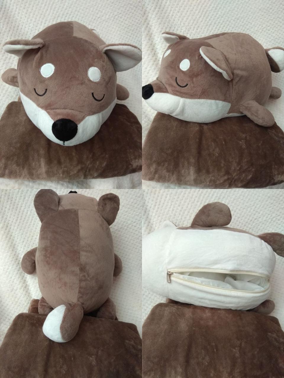 Плед іграшка подушка 3 в1 Вовк   Іграшка дитячий плед   Іграшки-Подушки   М'яка іграшка Коричневого кольору