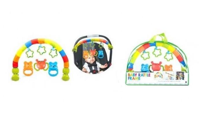 Різнобарвна, гнучка дуга на ліжечко або коляску з підвісними брязкальцями N 5074 A