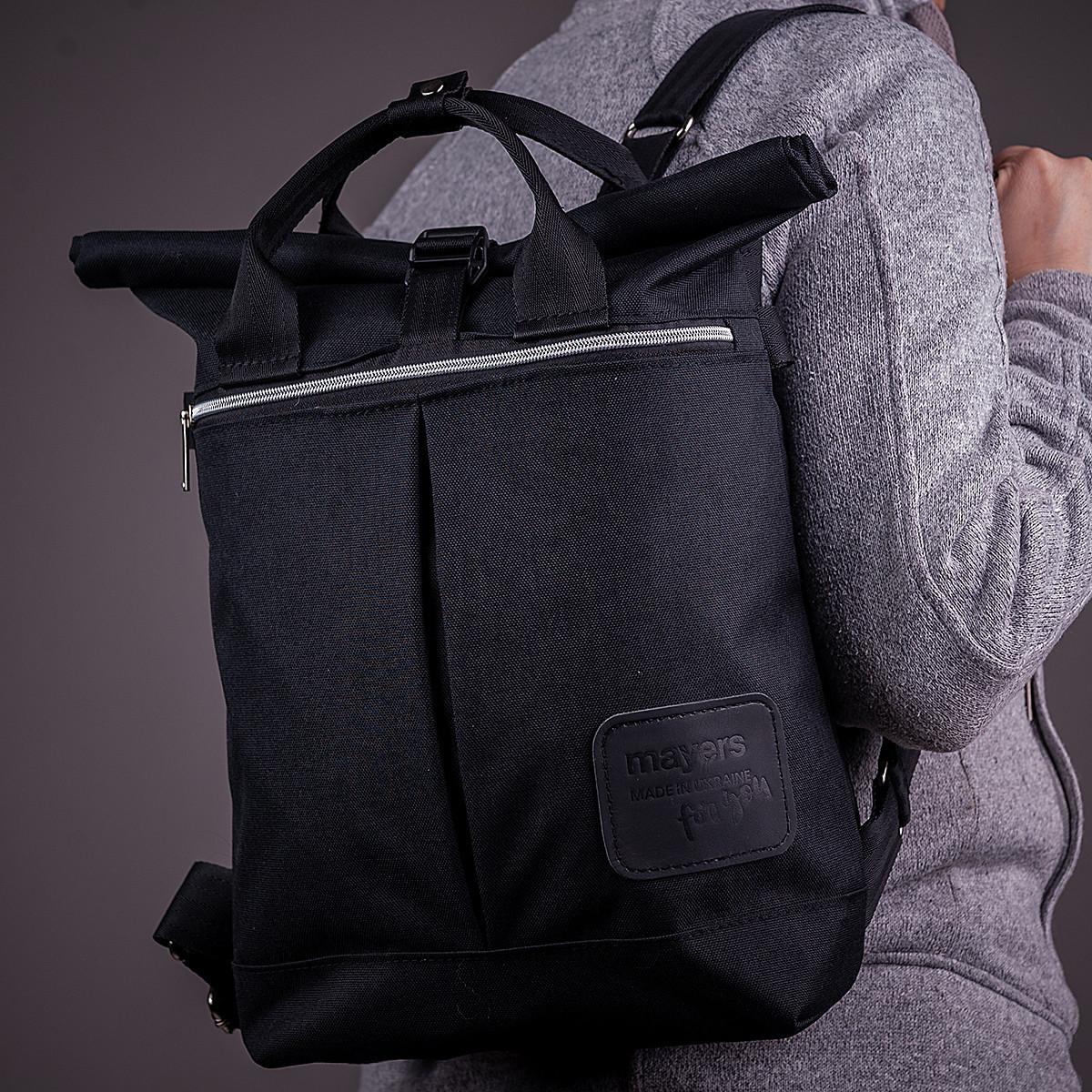Женский городской стильный рюкзак-сумка, черный