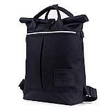 Женский городской стильный рюкзак-сумка, черный, фото 3