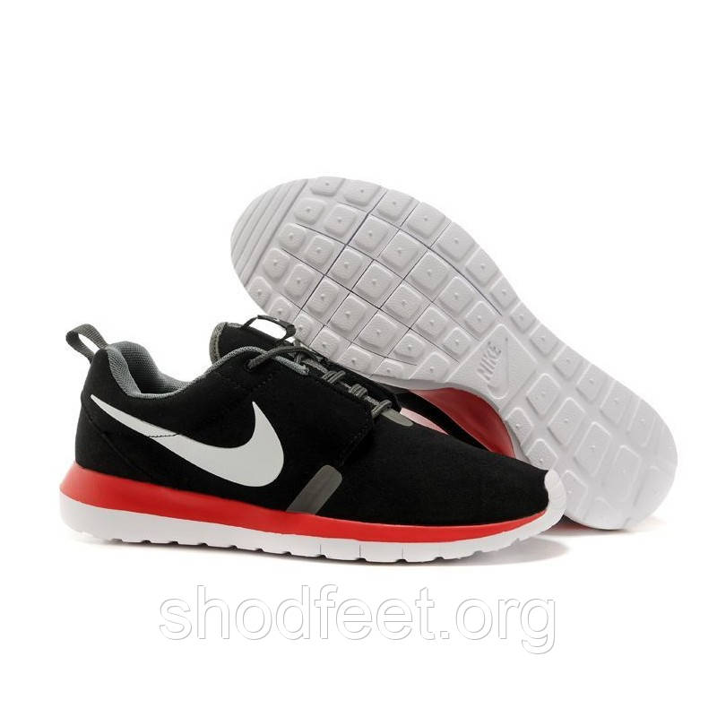Мужские кроссовки Nike Roshe Run NM BR Black/Red (Замша)