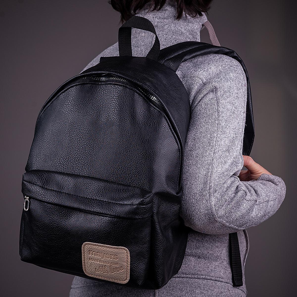 Женский городской модный рюкзак из эко кожи, черный
