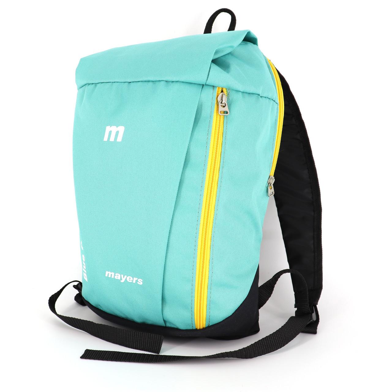 Маленький рюкзак детский повседневного назначения, бирюзовый (желтая молния)