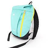 Маленький рюкзак детский повседневного назначения, бирюзовый (желтая молния), фото 2
