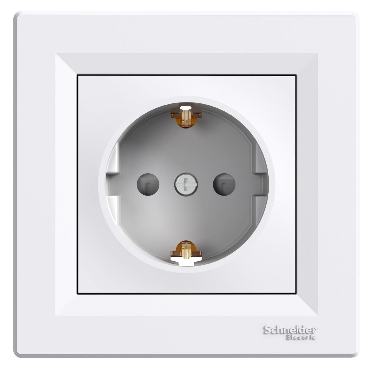 Розетка с заземлением и защитными шторками EPH2900221 белая ASFORA Schneider Electric, 0639