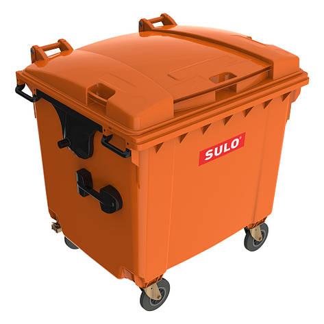 Євроконтейнер  Sulo з пласкою кришкою 1100 л. оранжевий, фото 2