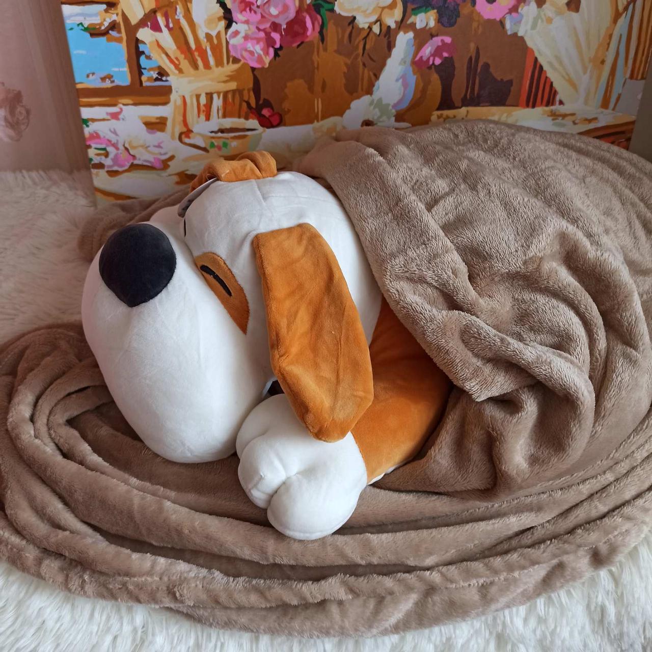 Плед игрушка подушка 3 в1 Собачка   Игрушка детский плед   Игрушки-Подушки   Мягкая игрушка Оранжевого цвета
