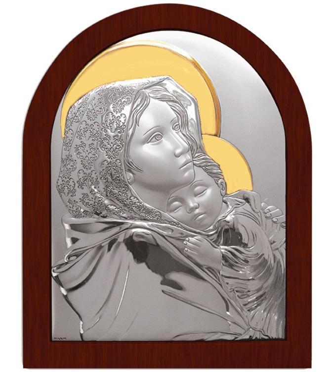 Срібна ікона Богородиця з Немовлям з позолотою арочної форми 21,9х19,7см Роберто Ферруцци